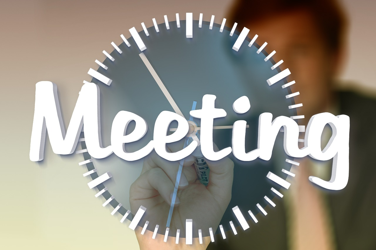 meeting, clock, office